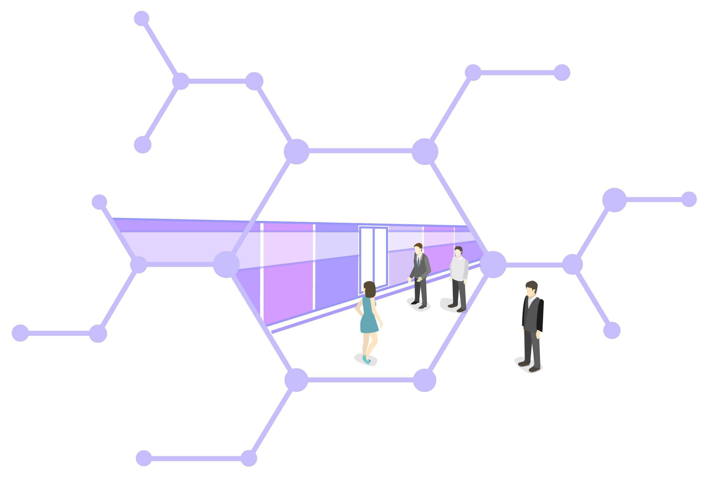 La metro si trova dentro un alveare digitale a rappresentare un solo thread. Delle persone salgono