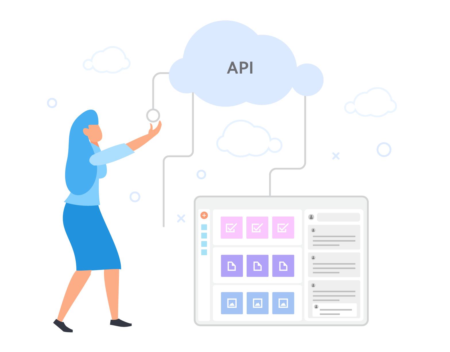 Una donna collega le sue API alla piattaforma SweetHive