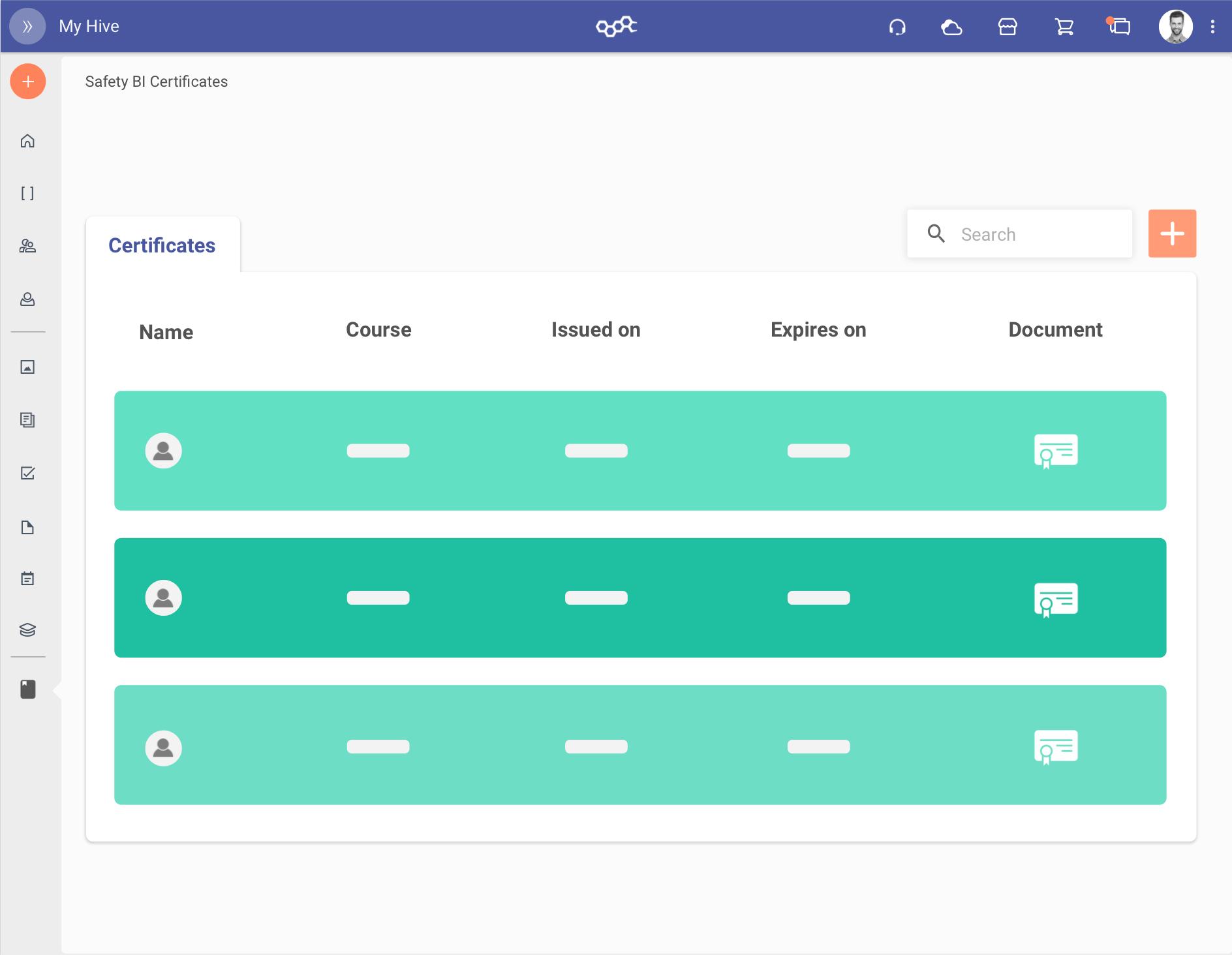 Rappresentazione grafica della verifica gli attestati previsti dal piano formativo per ogni utente